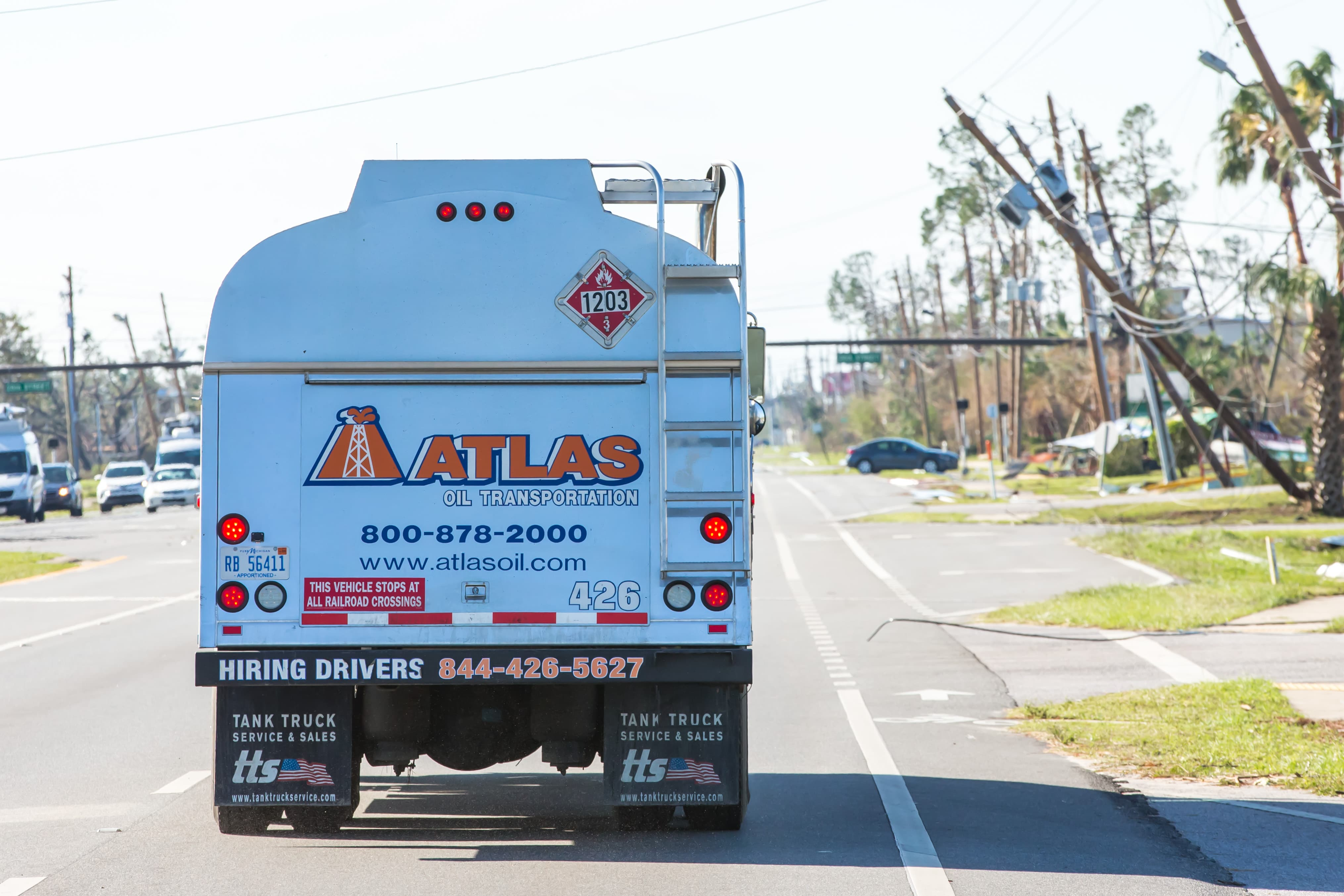 An Atlas Oil fuel tanker rolls through Panama City Beach after Hurricane Michael destroyed much of the infrastructure.
